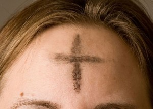 Ash Wednesday cross on forehead